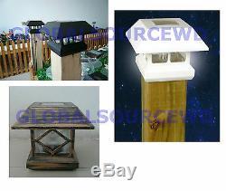 12 New Bronze Outdoor Garden Solar Panel Post Deck Cap Light to fit 31/2x31/2