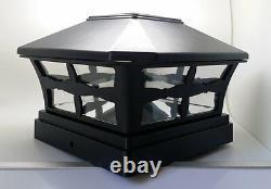 12 Plastic Solar Black Square Post Cap LED Fence Mount 5x5 Garden Outdoor Light