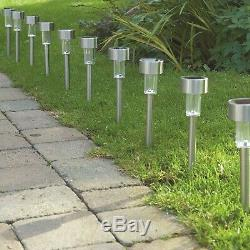 12 Stainless Steel Solar Rechargeable Lights Garden Post Lanterns Outdoor White