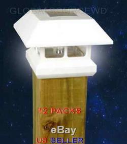 12 White New Outdoor Garden Solar Panel Post Deck Cap Light