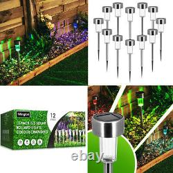 12 x COLOUR CHANGING STAINLESS STEEL SOLAR LED GARDEN PATIO POST OUTDOOR LIGHTS