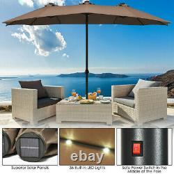 15' Patio Outdoor Umbrella Solar LED Light Crank Sun Shade Garden Canopy Market