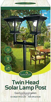 1.8m Twin Head Solar Lamp Post 12 LED Traditional Path Outdoor Garden Lights