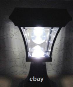 1 Solar Fence Gate Lamp Post Light 4 LEDs For Wood Mason Stone Brick Concrete