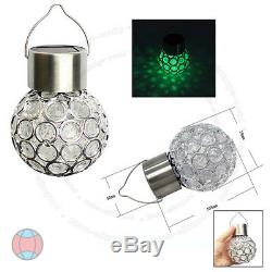1x 7 Color Changing LED Solar Garden Hanging Light Crackle Glass Lantern Ball