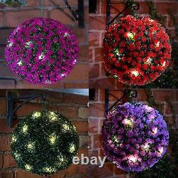 28cm Solar Powered Topiary Ball 20 Led Flower Lights Dual Function Garden Sphere
