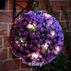 28cm Solar Powered Topiary Ball Light 20 Led Garden Hanging Light Ball Purple