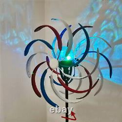 2M Metal Double Spiral Garden Wind Mill Spinner Solar LED Light Outdoor Decor