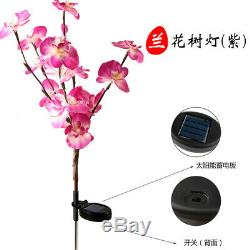 2PC Solar Garden Lights Orchid Flowers Stake Lamp For Yard Outdoor Patio Decor