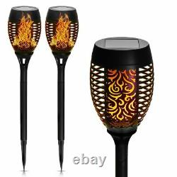2X 31Pcs LED Flame Solar Torch Light Waterproof Flickering Dancing Path Garden