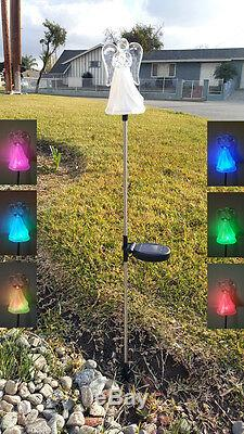 2X Solar Powered Angel with Frosted Skirt Garden Stake Color Change LED Light
