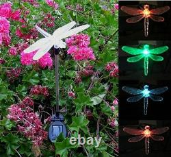2X Solar Powered Dragonfly Landscape Garden Stake Color Changing LED Light