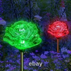 2X Solar Powered Rose Flower Landscape Garden Stake Color Changing LED Light