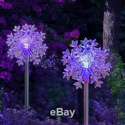 2X Solar Powered Snowflakes 3D Landscape Garden Stake Color Changing LED Light