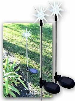 2X Solar Powered Starburst Landscape Garden Stake Color Changing LED Light