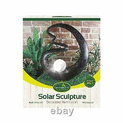 2 GardenKraft BLACK Medusa Garden Outdoor Ornament with Solar Crackle Ball Light