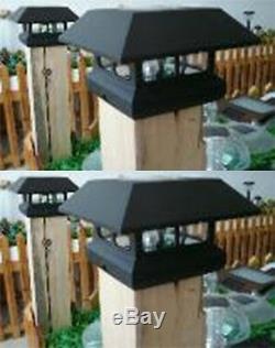 2 Kits Black New Outdoor Garden Solar Panel Post Deck Cap Light