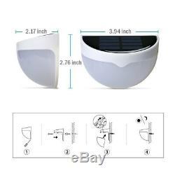 2 Pack Solar Light Sensor 6 LED Wall Light Outdoor Garden Fence Waterproof Lamp