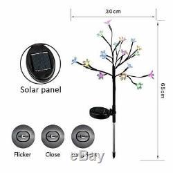 2 Pack Solar Power Flower LED Lights Garden Stake Lamp Yard Patio Outdoor Decor