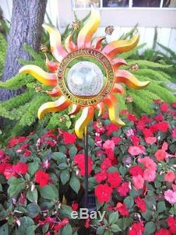 2 X Solar Power Metal Sun Ray Glass Crackle Ball Garden Stake Color Change Light