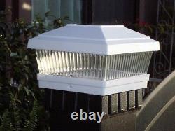 2 X Solar Power Path Deck Post Cap Light Fence Mount Lamp White 5x5