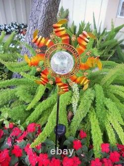 2 X Solar Powered Metal Sunflower Glass Ball Garden Stake Color Change Light