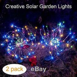 2-pcs LED Solar Power Firework Fairy Light for Outdoor Garden Christmas Decor