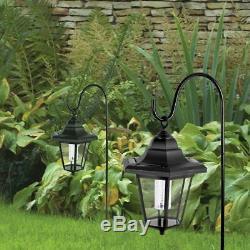 2 x Garden Black Shepherds Solar Lanterns Hanging Victorian Lamp LED Post Light