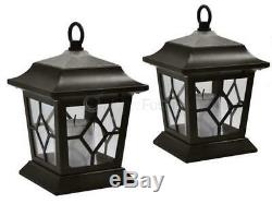2 x SOLAR LED TRADITIONAL FLICKERING CANDLE COACH LANTERN HANGING LIGHTS GARDEN