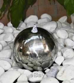 30cms S/S Sphere Modern Water Feature. Solar powered garden feature with leds