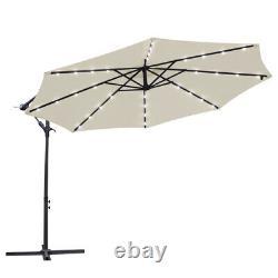 32 LED Solar Powered Cream Parasol Garden Banana Hanging Umbrella Cantilever