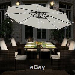 32 LED Solar Powered Parasol Garden Banana Hanging Umbrella Cantilever Cream