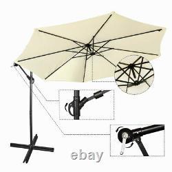 3M Banana Parasol Sun Shade Patio Hanging Umbrella Cantilever 32LED Garden Beige