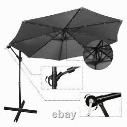 3M Banana Parasol Sun Shade Patio Hanging Umbrella Cantilever 32 LED Garden Gery
