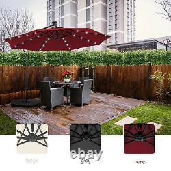 3M Banana Parasol Sun Shade Patio Hanging Umbrella Cantilever with 32 LED Garden