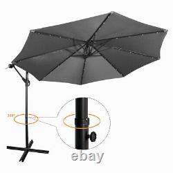 3M Garden Banana Parasol 32 LED Sun Shade Patio Hanging Umbrella Cantilever Gery