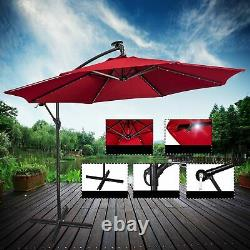 3M Garden Banana Parasol Sun Shade Patio Hanging Umbrella Cantilever 32 LED Wine