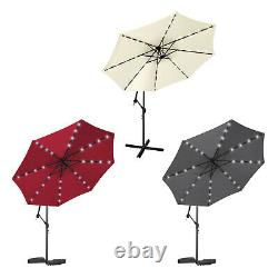 3M Garden Banana Parasol Sun Shade Patio Hanging Umbrella Cantilever with 32 LED