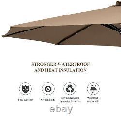 3M Garden Parasol with Solar-Powered LED Lights Patio Cantilever Umbrella