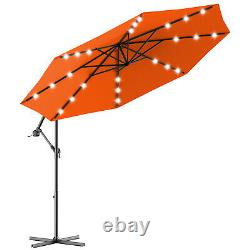 3M Outdoor LED Parasol Patio Solar Sun Shade Garden Banana Cantilever Umbrella