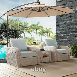 3M Outdoor LED Parasol Patio Solar Umbrella Sun Shade Garden Banana Cantilever