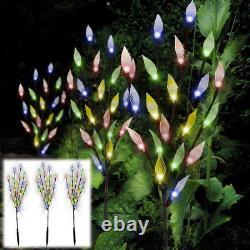3Pcs Ornamental 60 LED Multi Color Garden Patio Solar Light Leaf Tree Lighting