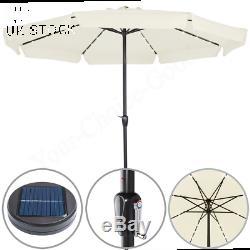 3.3m Outdoor Garden Umbrella 32 LED Lights Solar Patio Sun Parasol 330cm Cream
