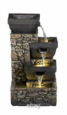 3 Bowls on Stone Wall Solar Powered Garden Water Feature with LED Lights