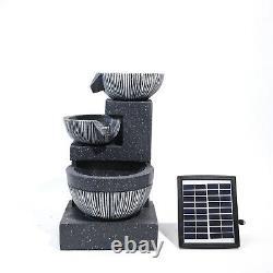 3 Deep Bowls LED Waterfall Fountain Garden Ornament Water Feature Solar Powered