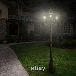 3 Head Bronze LED Outdoor Solar Light Post Lamp Pole Lantern Garden Driveway NEW
