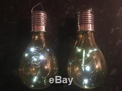 3 X Solar Powered Hanging Light Bulbs Solar Garden Lights Clear Shell