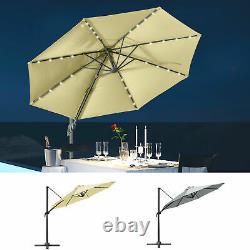 3(m) LED Cantilever Parasol Garden Sun Umbrella with Base and Solar Lights