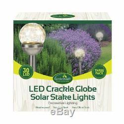 3 x GardenKraf Garden Stainless Steel LED Crackle Glass Globe Solar Stake Lights