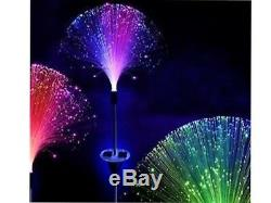 3 x STAINLESS STEEL SOLAR FIBRE OPTIC COLOUR CHANGING LED GARDEN OUTDOOR LIGHT